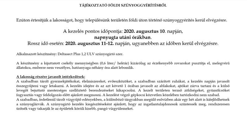 Tájékoztató szúnyoggyérítésről 2020. augusztus