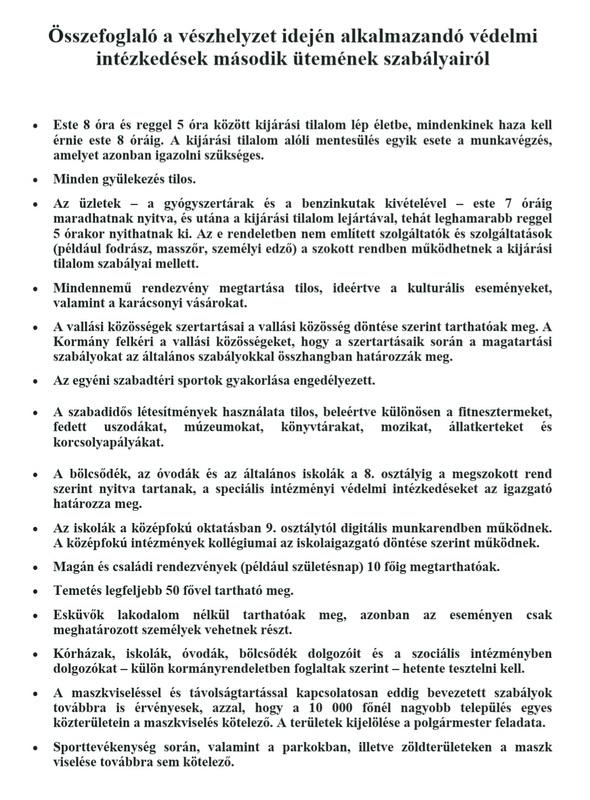 Összefoglaló 2020.11.11-től bevezetett változásokról